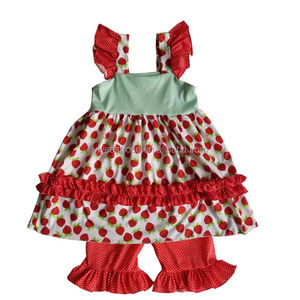 Strawberry baby frock design and polkadot shorts sweet girl outfits fashion baby clothing set