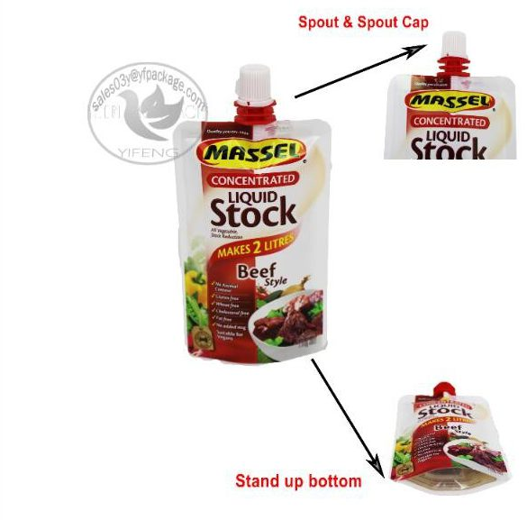 stand up spout pouch for ketchup packaging sauce food bag