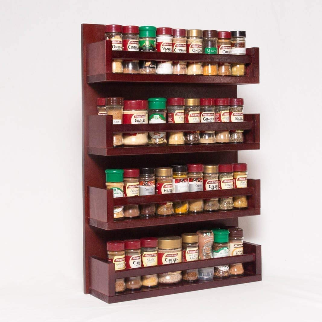 Spice Rack - Wooden - Open Top - 4 Tiers - Timber Bar - 72 Herb and Spice Jars