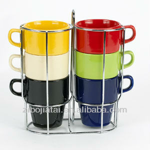 Solid Color Glazed Stackable Ceramic Coffee Mug With Metal Rack
