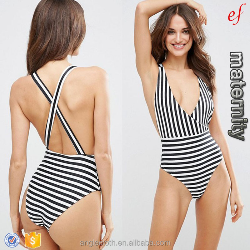 2017 New Fashion Trendy Sexy Cross Back Mono Stripe black and white swimsuit