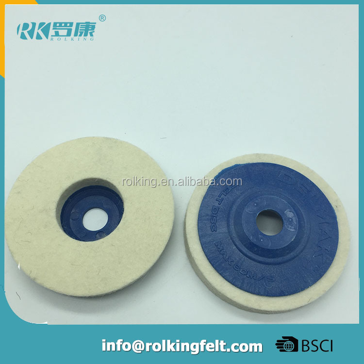 "2 Pcs 4"" Outer Dia Wool Felt Polishing Wheel Sanding Disc for Metal"