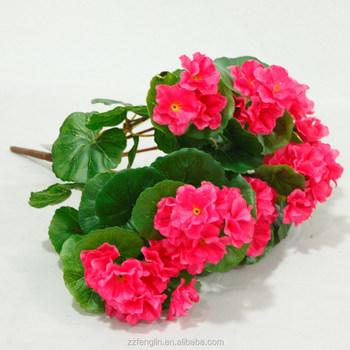 Red Begonia Bush Artificial Silk Flowers Pot Plant Artificial Flower