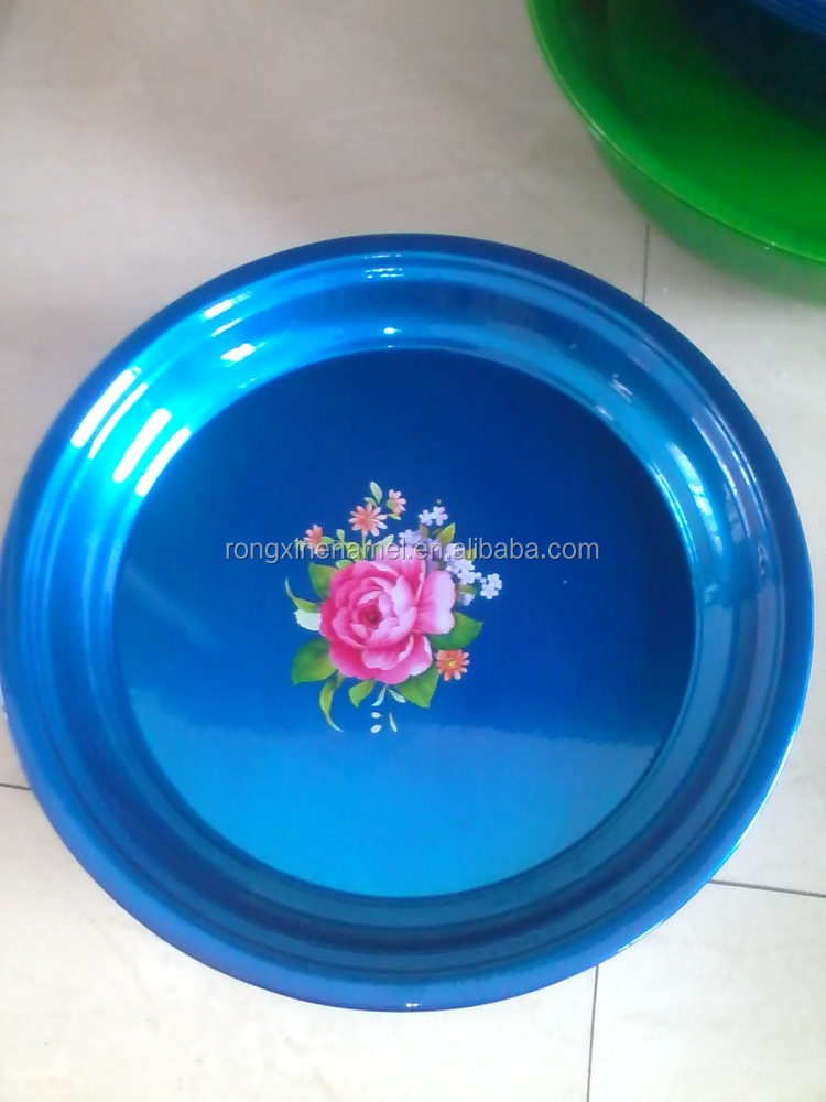 80cm Enamel flower plate, enamel steel round tray, enamel decorative tray, Fruit tray