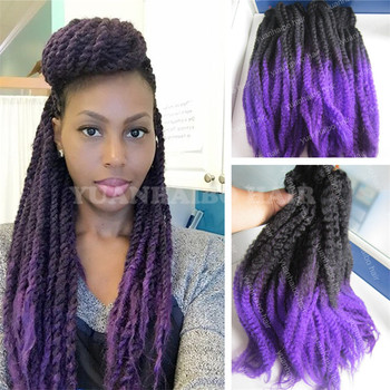 Hot Ing 20inch Fold Two Tone Black Purple Synthetic Twist Marley Braids Ombre Braiding Hair