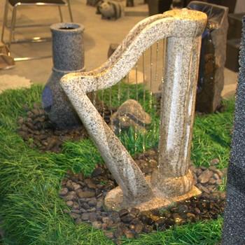 Harp Design Outdoor Decorative Big Natural Granite Stone Modern Garden  Fountain