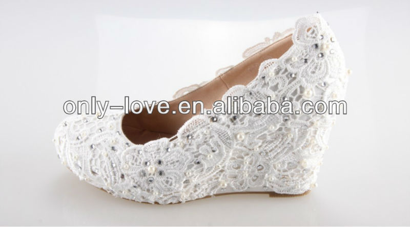 BS669 custom make ivory wedge heel lace bridal wedding shoes