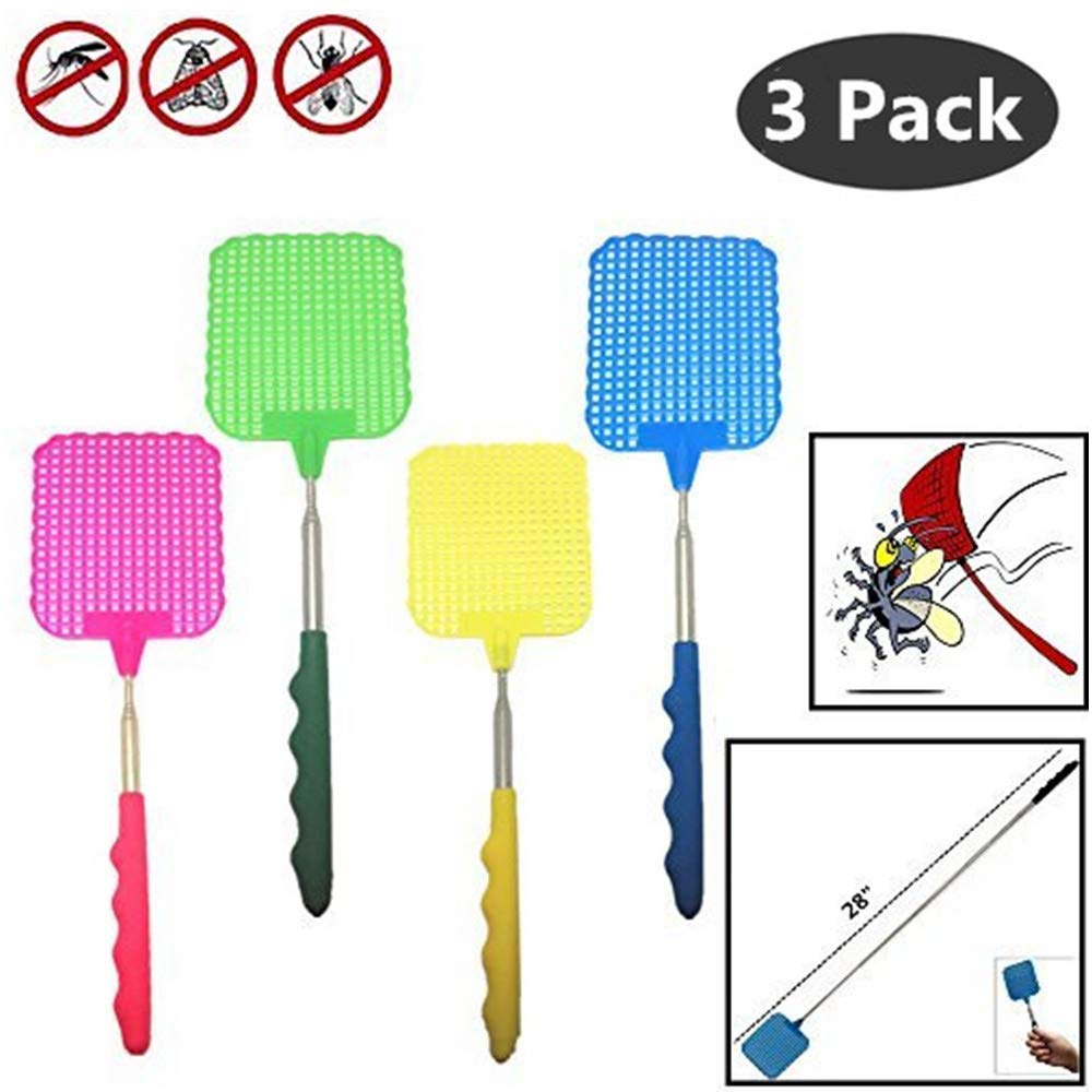 Blue DAVEVY Fly Swatter Extendable Manual Swat Pest Control Butterfly Strong Flexible Manual Flyswatter with Durable Telescopic Long Handle Flapper Prevent Pest Mosquito Tool