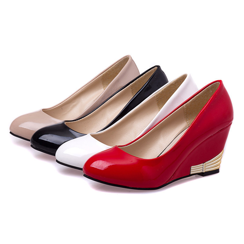 Spring Autumn Women Wedges Shoes Pointed Toe Patent Leather Women Pumps Casual Nude Red Women Wedding Shoes