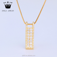 Elegant 925 Sterling Silver Slide Style Gold Pendant With Chains For Women