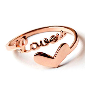 Romantic Valentine S Finger Ring Love Alphabet Heart Plated Rose Gold Adjustable Opening Simple Design Rings Jewelry Women Buy Diamond Engagement
