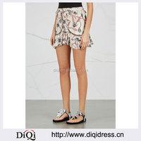 Wholesale Women Apparel Printed Ruffled Trims Ivory Cotton Mini Skirt(DQE0350SK)