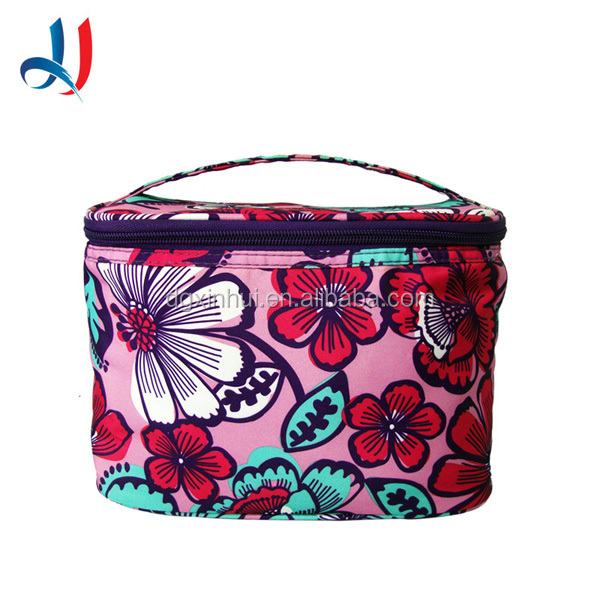 Guangdong Top Quality Barrel shaped Red PU Leather Round Bottom Elegent Cosmetic Packaging Bag with Zipper