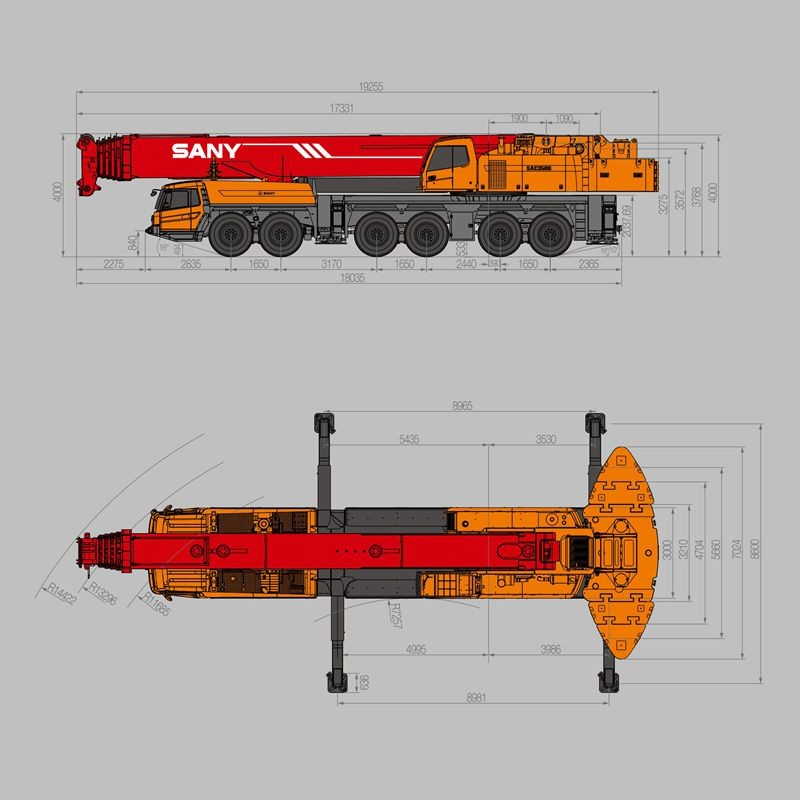 Top Design Sany Truck Mounted Crane Sac3500 350 Tons Super Strong For  Mobile Crane Specification - Buy Mobile Crane Specification,Truck Mounted