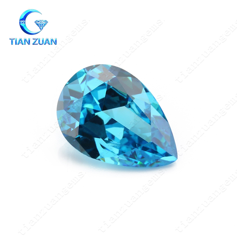 New Aqua Blue Pear Shape Cubic Zirconia Stone Gems cutting machine cz
