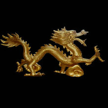 Fiberglass golden dragon sculpture