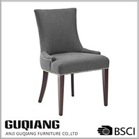 Studded Dark Grey Linen Fabric Dining Room Chair Replacement Seats Wooden,French Brief Dining Chair