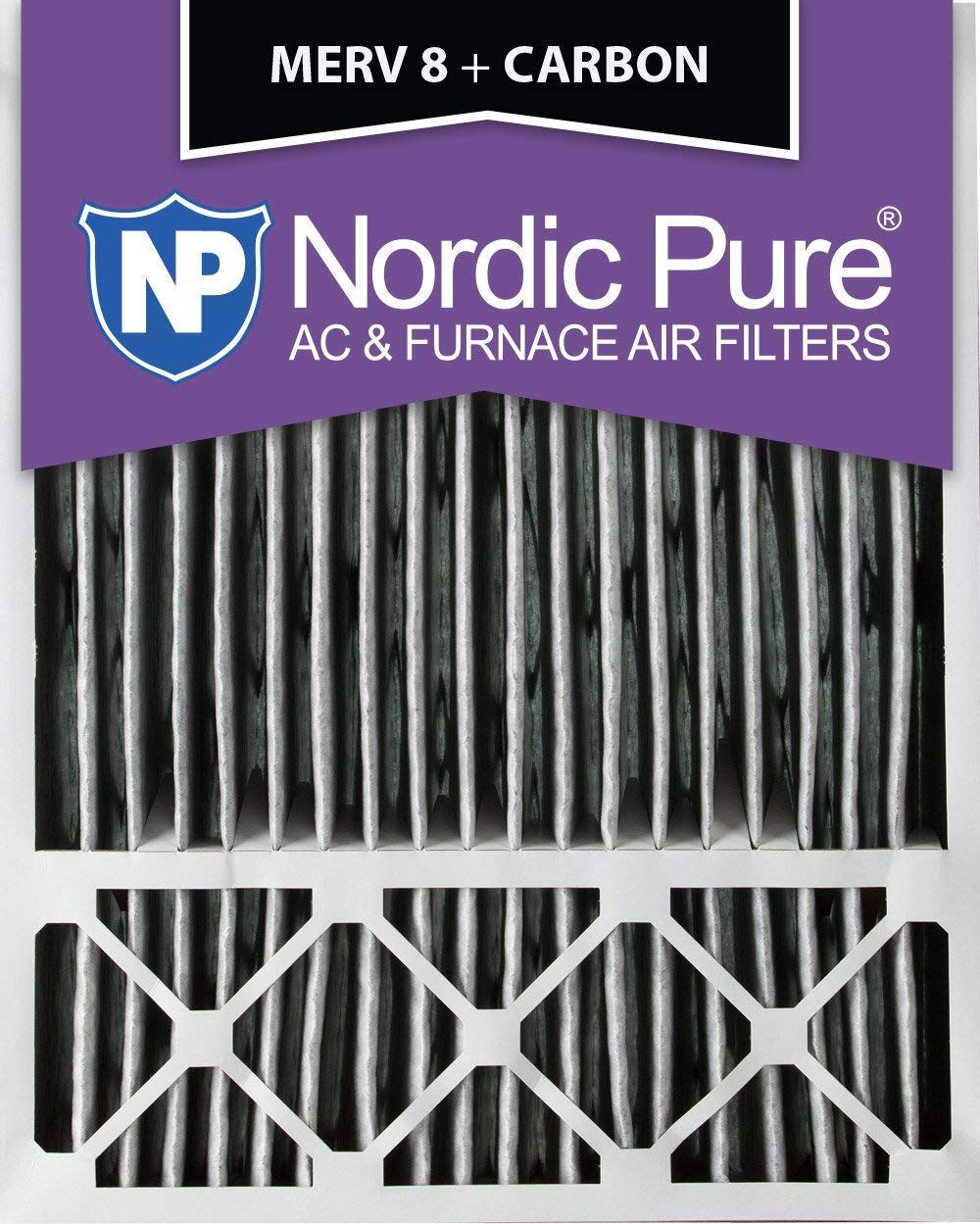 Nordic Pure 20x25x5 (4-3/8 Actual Depth) Honeywell Replacement Pleated MERV 8 Plus Carbon AC Furnace Air Filter, Box of 4