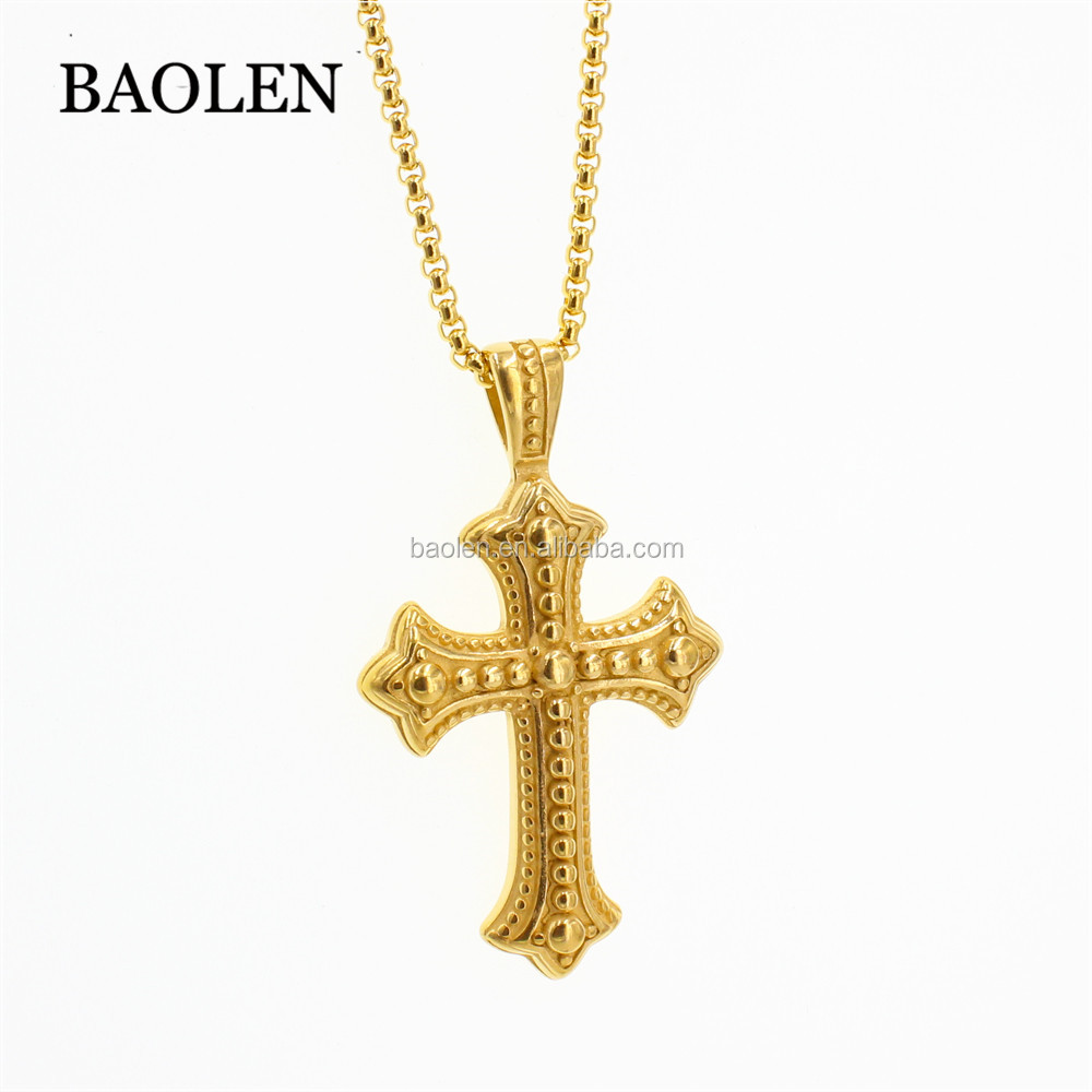 316L Stainless Steel Punk Women Mens Cross Pendant Necklace Male Female Box Chain Necklace Ladies New Fashion Jewelry Gift