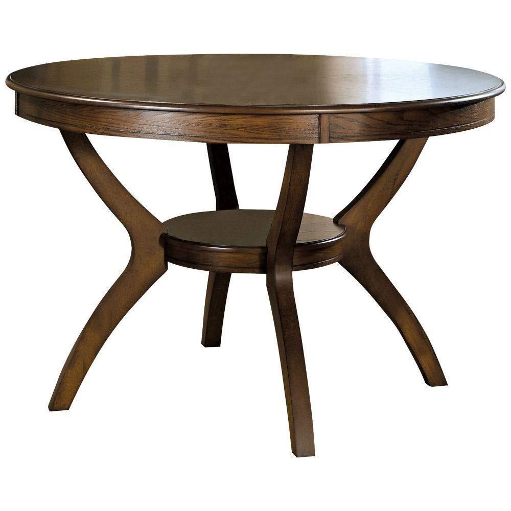 BeUniqueToday Modern Classic 48-inch Round Dining Table in Dark Walnut Wood Finish, Features an Open Bottom Shelf, Sleek Flared Back Legs and A Spacious Round Table Top That Creates The Perfect Look