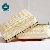 Pure Handmade Weaving Gift Baskets Empty Bamboo Gift Basket Packing Gift Box Wholesale