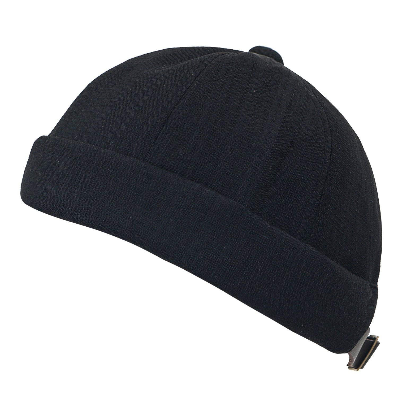 63c6241acc755 Get Quotations · ililily Solid Color Short Beanie Faux Leather Strap Back  Casual Cap Soft Hat