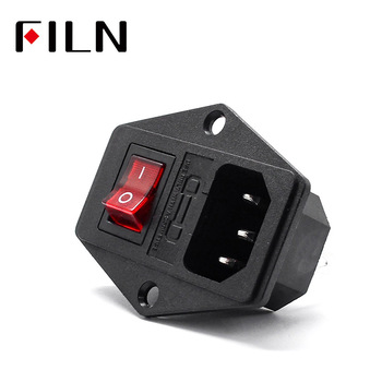 iec320 C14 10A 250VAC 3 Pin inlet connector plug power socket with red lamp rocker switch 10A fuse holder socket male connector