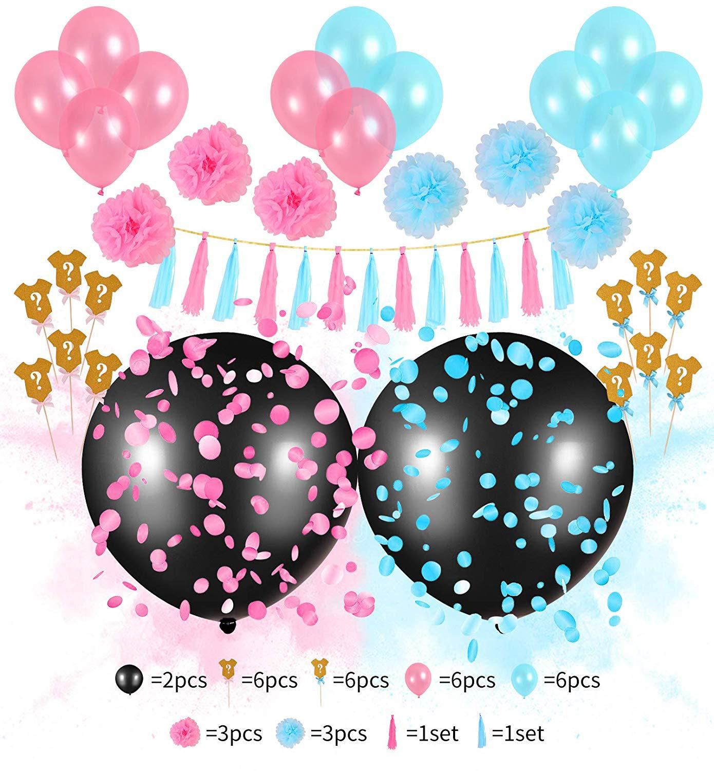 12 Inch 36 Inch Latex Free Balloon Gender Reveal Party Supplies Kit Baby Shower Decorations with Paper Tassel