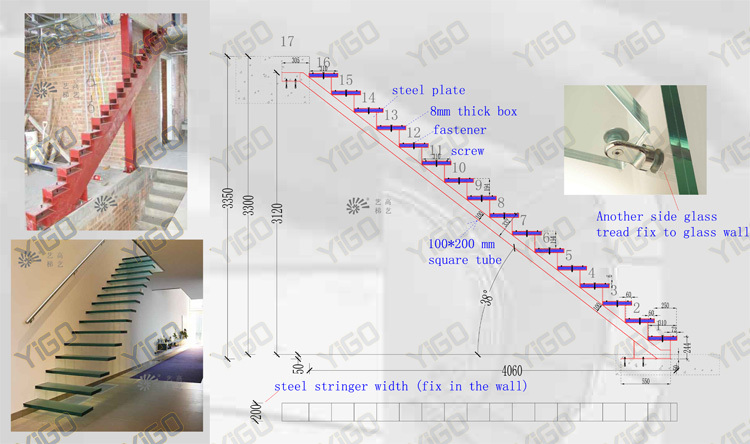 modern glass floating stairs / glass floating staircase / build wood floating staircase