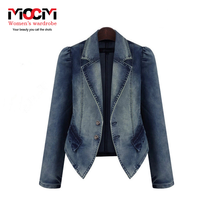 Europe 2015 women's fall and winter coat fashion turn-down collar Denim jacket womens winter jackets and coats W006