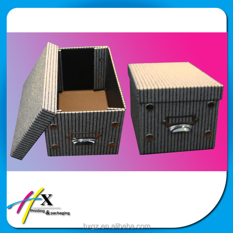 custom rigid kraft striped paper box storage toy gift box home applicance office with metal handle