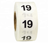 White with Black Number 19 Circle Dot Stickers, 3/4 Inch Round