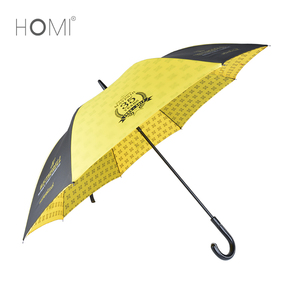 "27""*8k auto open bright yellow straight umbrella logo custom print advertising promotional rain umbrella"