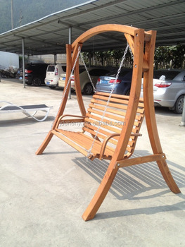 Hanging Patio Wooden Swing Bench Chair