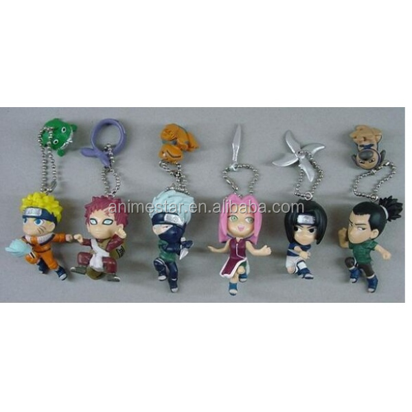 Naruto Anime PVC Keychain , action Figure Keychain 6pcs a set