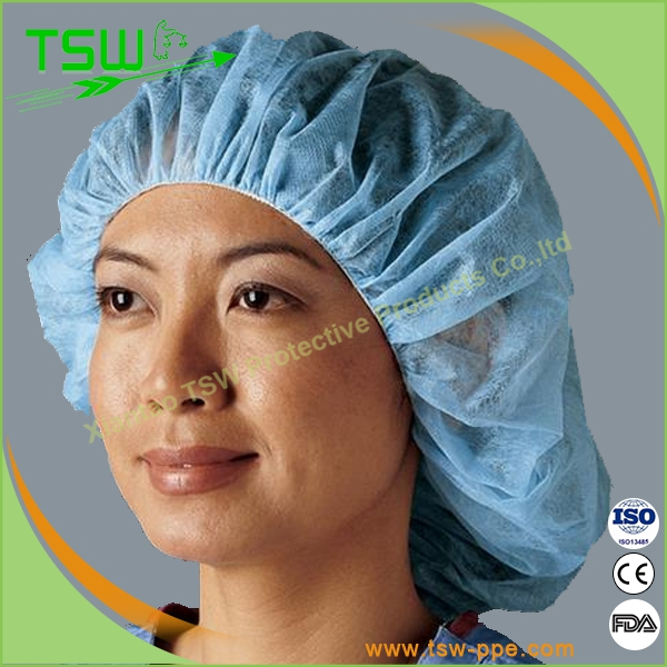 Medical use nonwoven nurse cap,disposable boffant cap for hospital