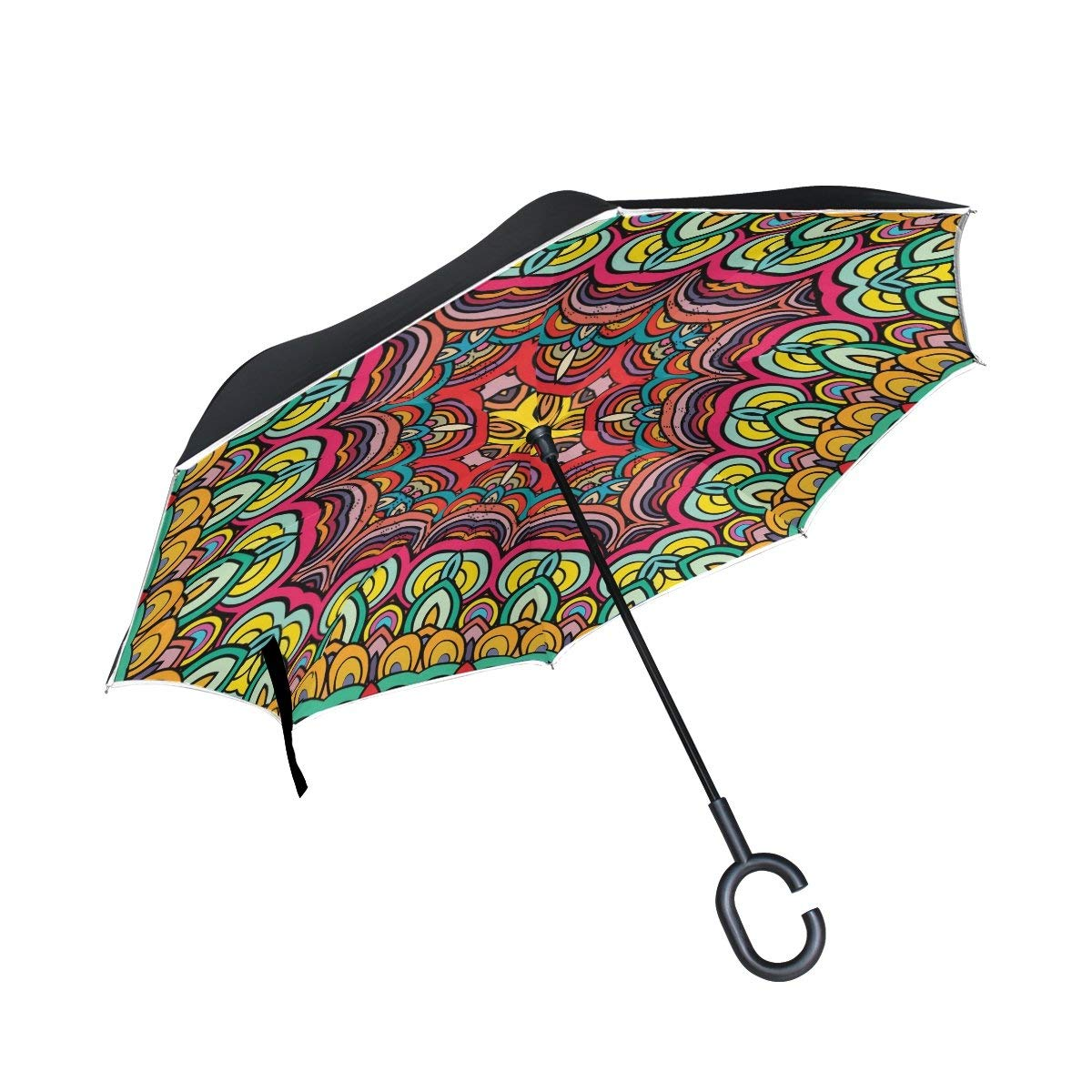 ALAZA Double Layer Inverted Reverse Umbrella Colorful Geometric Windproof Car Rain C-shapped Handle Automatic