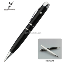 Black and silver led laser pen usb metal ball pen with logo 8gb 16gb 32gb