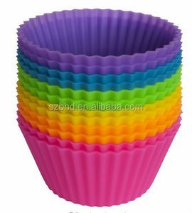 Supply Charming Colorful 12 packed silicone cupcake liners with assorted colors on Amazon