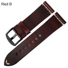 Ремешок для часов MAIKES, винтажный коричневый ремешок из коровьей кожи для часов 20 мм, 22 мм, 24 мм(Китай)