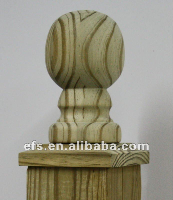 Decorative wooden ball post cap
