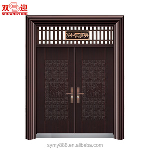 Finished surface finishing galvanized insulated steel cheap exterior one and half door-leaf steel door