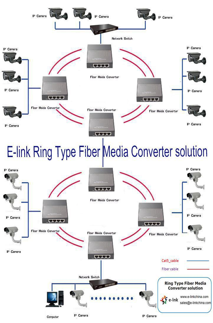 10 100m Dual Fiber Ring Network Media Converter Sc
