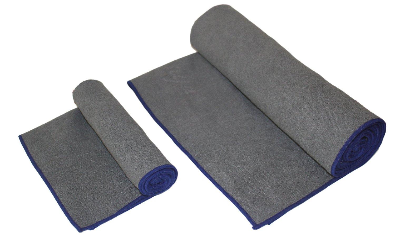 "Zensufu Yoga Towel Combo Set - (24"" x 72"") Mat Towel and (15"" x 24"") Hand Towel Microfiber Non Slip Premium Duo Set"