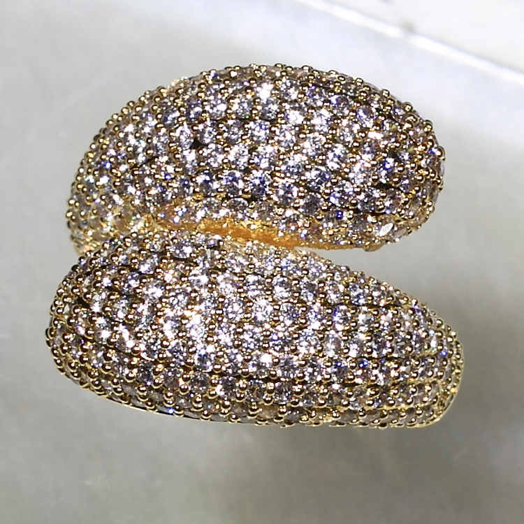 SJ Factory Direct Sale YR7457(2) Eye-Catching Women Eco-Friendly Brass Micro-Pave Workmanship Cubic Zirconia Gold Plated Ring
