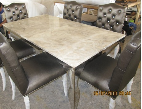 Stainless Steel Dinning Table With Dining Room Set With 6 Chairs
