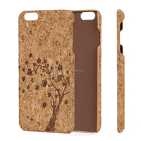 Hot New Products Cork Wood Leather Laser Engraved Animals Wooden Phone Shell for iPhone