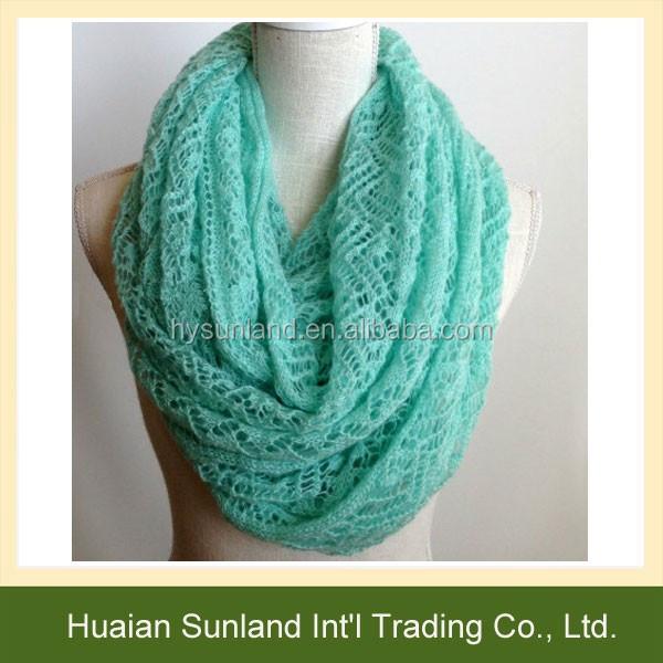 W,724 handmade crochet encaje de punto bufanda de las mujeres bufandas infinito