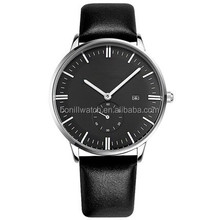 Casual Men's Gold Dial Analog Quartz Black Leather Band Men Dress Wrist Watch