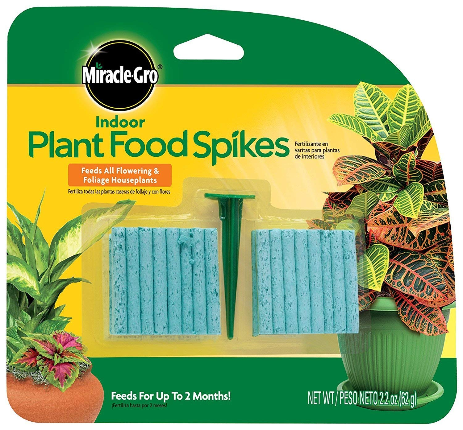 Miracle-GRO Indoor Plant Food, 48-Spikes (2-Pack (48 Count))